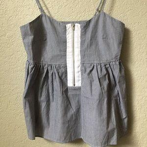 Striped zip blouse